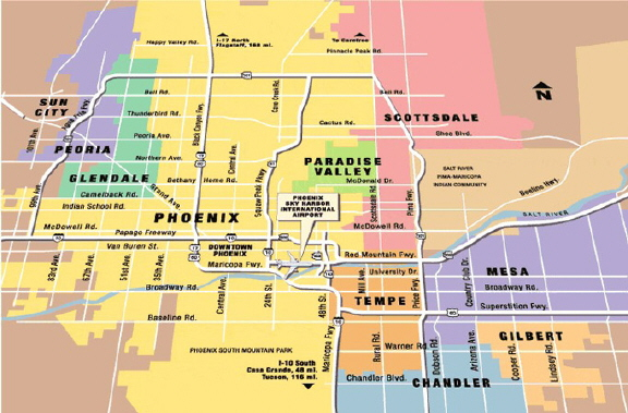 A Map Of Phoenix Arizona.Phoenix Arizona Az Airport Map Mccarthycarservice Com